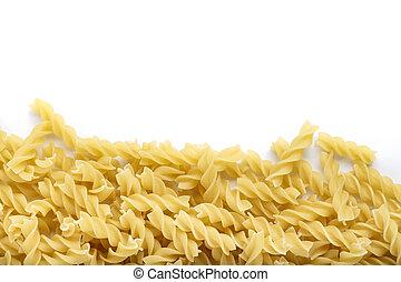 Fusilli on white background