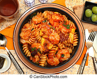 Fusilli Pasta and Shrimp