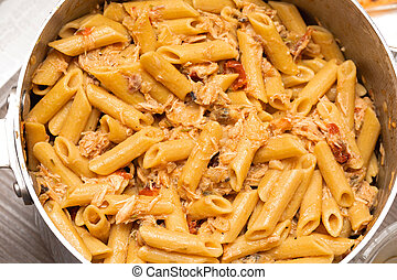 Fusilli Shaped Pasta in Pot Italian Cuisine