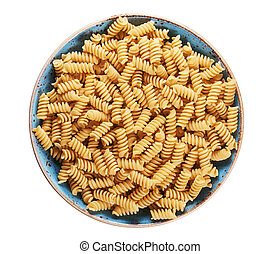 fusilli pasta in a plate isolated on white