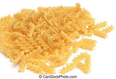 Fusilli pasta isolated on white background