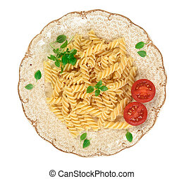 pasta on a plate top view
