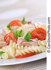 Fusilli pasta with tuna, cherry tomatoes and fresh herbs