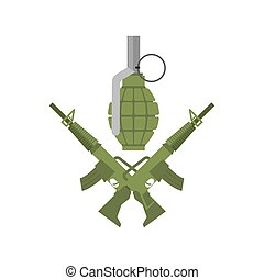 fusils, armée, grenade., fusil, emblem., traversé, militaire, logo., munitions