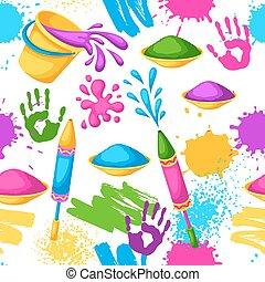 fusils, blots, holi, coloré, taches, seaux, pattern., seamless, illustration, eau, peinture, drapeaux, heureux