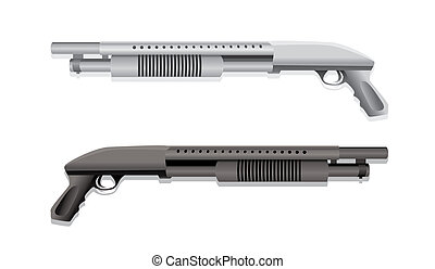fusils chasse, deux, isolé, illustration, réaliste