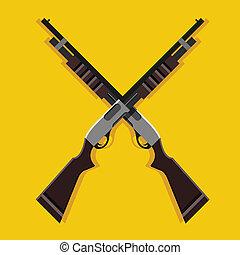fusils chasse, vecteur, traversé,  pump-action