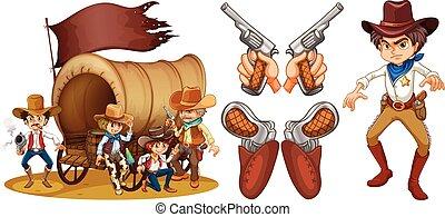 fusils, ensemble, occidental, cow-boy
