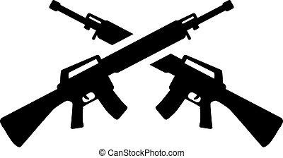 fusils, traversé, tireur embusqué