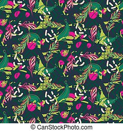 Fusion exotic jungle juicy greens tropical palm pattern. Seamless vector nature geometric backdrop wallpaper.