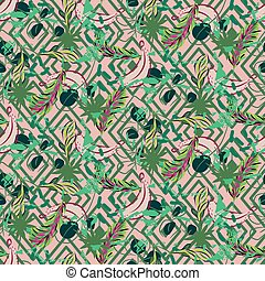 Fusion exotic jungle plant tropical palm pattern. Seamless vector nature geometric wallpaper.
