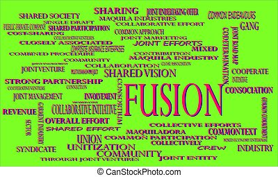 Fusion industrial business word cloud vector illustration...