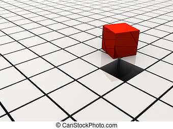 Red cube among other white cubes - 3d render