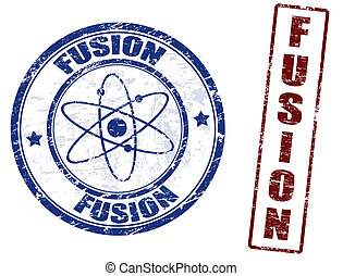 Grunge rubber stamps with the word fusion written inside, vector illustration
