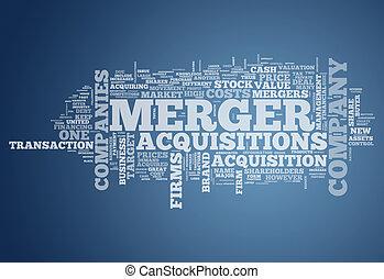 fusione, acquisitions, parola, nuvola, &