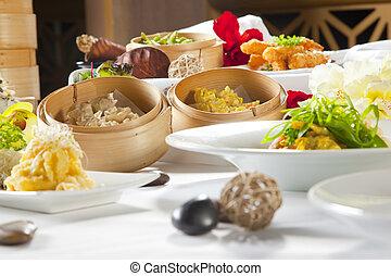 fusione, asiatico, piatti