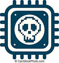 fusione, cranio, cyber, vettore, sicurezza, cpu, icona