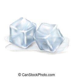 fusione, cubi, due, ghiaccio, fondo, trasparente
