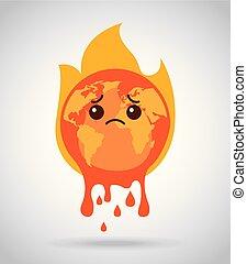 fusione, urente, fuoco, triste, terra pianeta, cartone animato