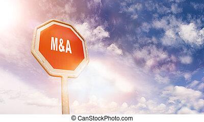 fusionen, und, acquisitions, auf, rotes , verkehr, straße,...