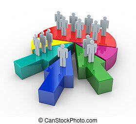 fusionner, concept, business, 3d