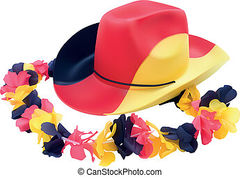 Fussball  Hat with flower necklace