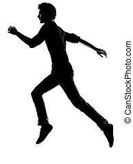 futás, árnykép, fiatal, ember