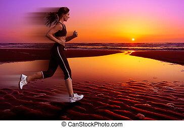 futás, és, napnyugta
