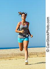 futás, atléta, nő, fiatal, fényképezőgép.
