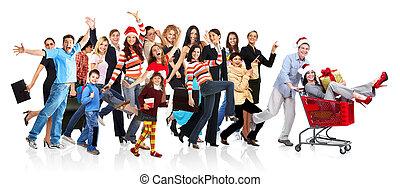 futás, boldog, csoport, emberek