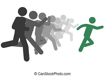 futás, emberek, jelkép, vagy, oktat, faj, vezető, ember