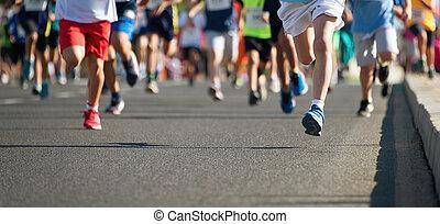 futás, gyerekek, fiatal, atléta, futás