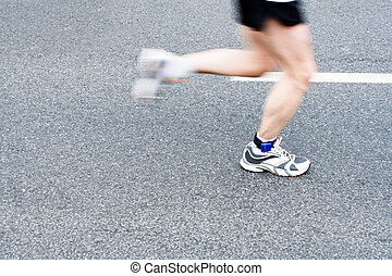 futás, maratoni futás, képben látható, város utca, szándék elken