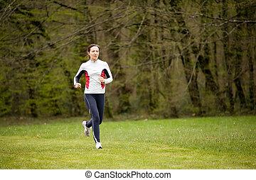 futás, nő, liget
