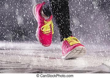 futás, nő, tél