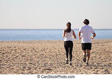 futás, nő, tengerpart, ember