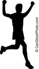 futás, nyerő, ember