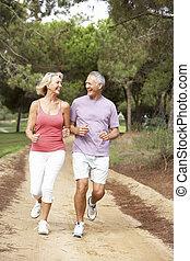 futás, párosít, liget, idősebb ember
