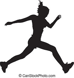 futás, vector-, leány