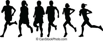 futás, vektor, -, nők