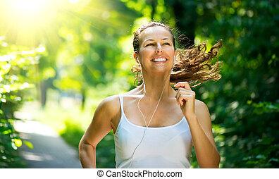futás, woman., külső, tréning, alatt, egy, liget