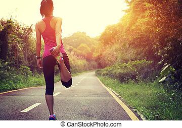 futó, nő, meleg, külső, feláll