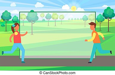 futó, ország, ábra, vektor, női, hím
