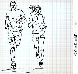 futó, skicc, hím, női, ábra