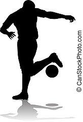 futball, árnykép, foci játékos