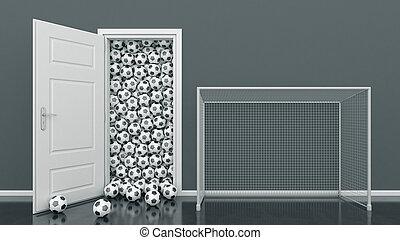 futball, ajtó, labda
