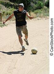 futball, alatt, homok
