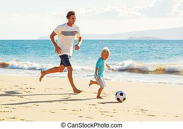 futball, atya, játék, fiú