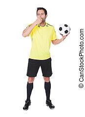 futball, bíró, álló, noha, labda