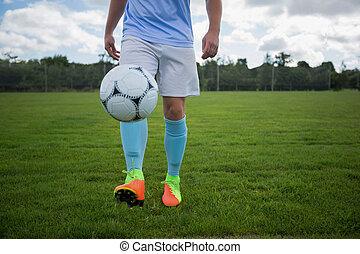 futball, bűvészkedés, foci labda, játékos